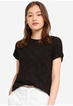 1e5bde205885 ESPRIT black Short Sleeve Texture T-Shirt D662CAA1A4D7C0GS_1