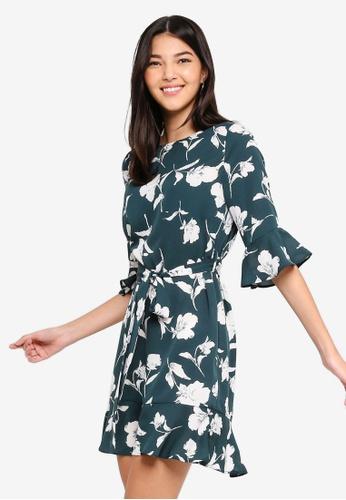 ZALORA green and multi Ruffle Sleeves Dress BC390AA930DB33GS_1