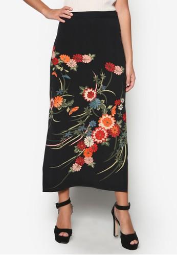 側開衩花卉長裙esprit tw, 服飾, 裙子