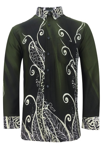 Pacolino Pacolino - Long Sleeve Green Color Printed Batik Shirt D3E09AA9F1D7E0GS_1