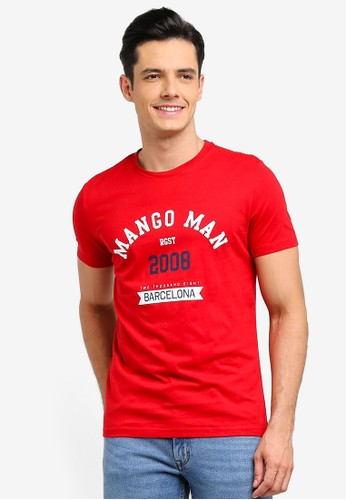 Mango Man red Logo Cotton T-Shirt EC900AA36800A9GS_1