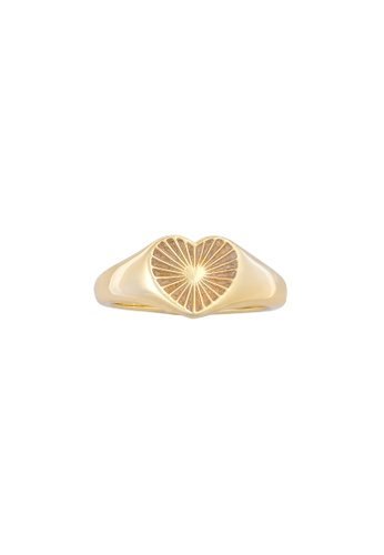 Wanderlust + Co Honor Heart Mantra Gold Ring 1926BACC23DF0FGS_1