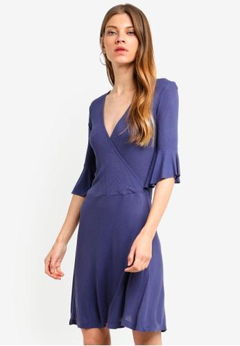 Brave Soul blue 3/4 Sleeve Wrap Over Dress 8B8A7AA1F82591GS_1