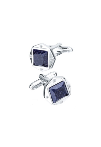 Kings Collection blue Lucky Blue Crystal Men Square Cufflinks (UPKC10100) 52B7DACEE4A3CDGS_1