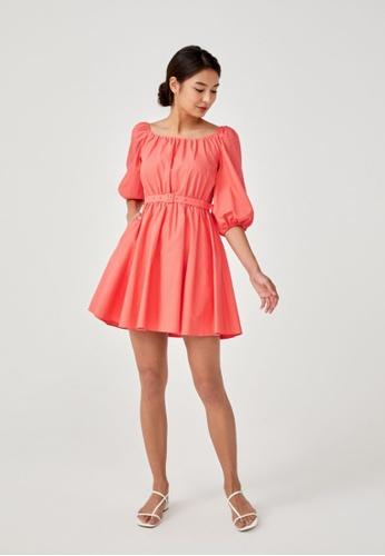 Love, Bonito orange Arica Puff Sleeve Mini Dress ACD23AA17C100CGS_1