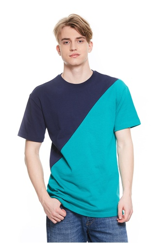 United Colors of Benetton green Two-tone T-shirt 530A7AAB17E0A7GS_1