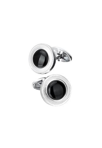Kings Collection black Round Flower Agate Cufflinks 6D727AC4A988D9GS_1