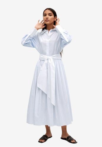 Mango white Striped Cotton-Blend Dress 5A600AA7C8F586GS_1