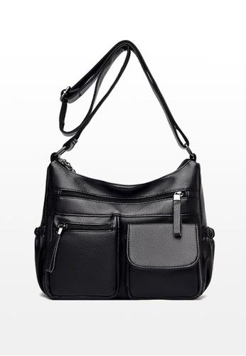 Lara black Women's PU Leather Multi-pockets Zipper Cross-body Bag - Black F6D72AC4658FEFGS_1