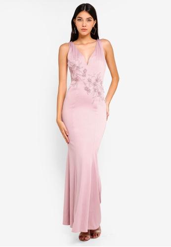 Little Mistress pink V-Neck Maxi Dress 08197AA15BB87CGS_1