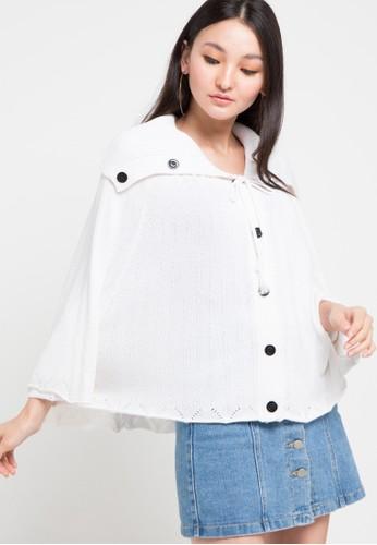 Noir Sur Blanc white Ladies Poncho Long Sleeve 95AE6AADA716D1GS_1