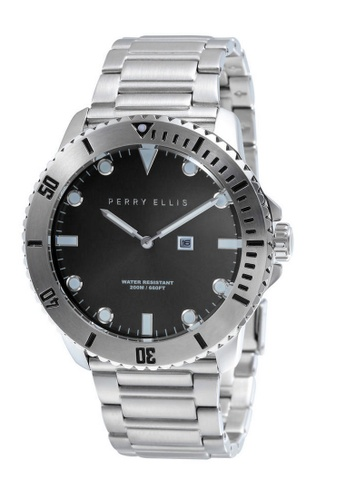 Perry Ellis silver Perry Ellis Deep Diver Men 46mm Quartz Stainless Steel Watch 02001-02 C7D63AC26830FBGS_1