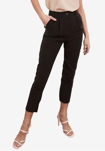 Trendyol black Mid Waist Carrot Fit Trousers 5FF94AA1ED0312GS_1