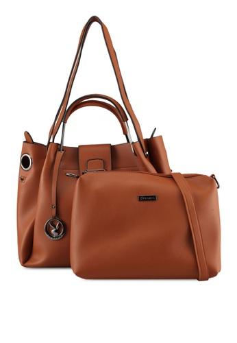 PLAYBOY BUNNY brown Playboy Bunny 2in1 Ladies Bag A0FF9AC30490DCGS_1