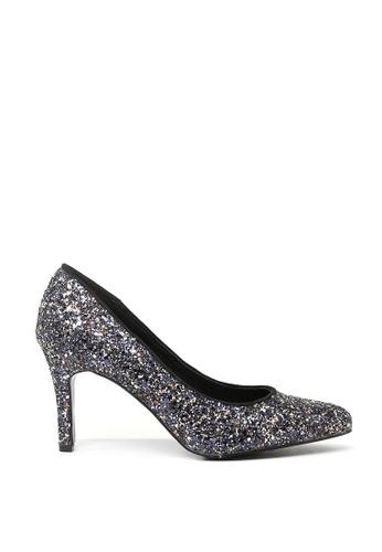 London Rag black Real Wide Fit Black Glitter High Heel Pumps SH1501 86F1DSH66E9004GS_1