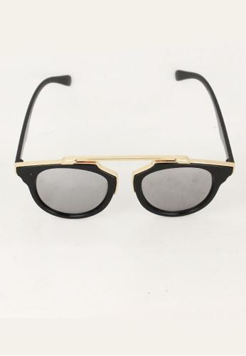 Amora Scarlett gold Cat Eye Black & Gold Chrome Mirrored Lens Eyewear AM058AC03TSYMY_1