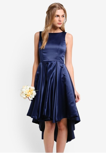 ZALORA navy Bridesmaids Structured High Low Dress 4791CZZ339B8D1GS_1