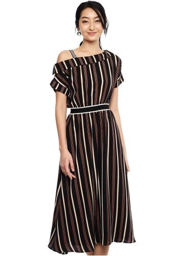 Nichii black One Shoulder Shadow Stripe Dress 32DDFAA59FD2BCGS_1
