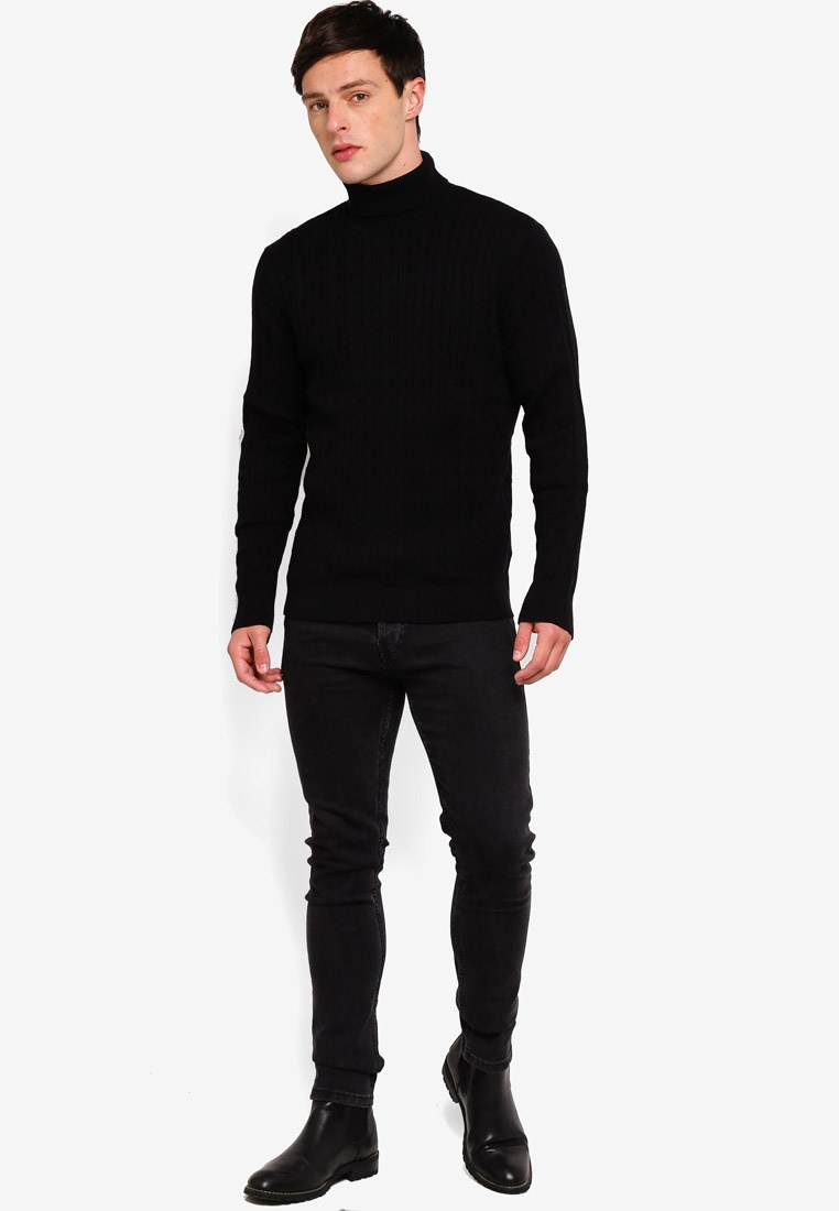 Homme Black Selected Clayton Rollneck Pullover wqFpqP7