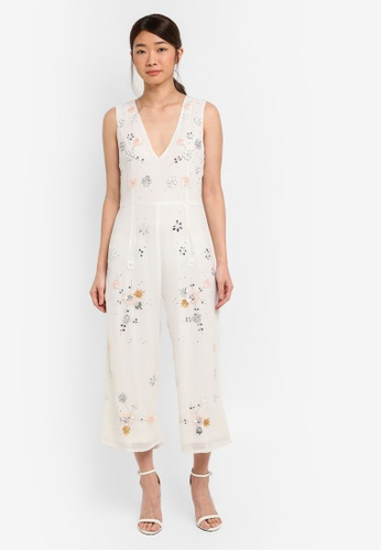 6caafa80b03 Miss Selfridge white Floral Embroidered Jumpsuit 4A687AAE672802GS 1