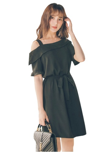 Yoco black One-Shoulder Tie-Front Dress 07A75AA4D3B776GS_1