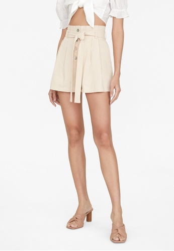 Pomelo beige Paperbag Tie Waist Shorts - Beige 1172AAAEFEB9E2GS_1