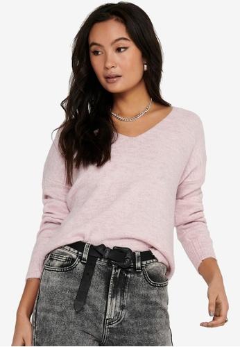 JACQUELINE DE YONG pink Elanora Long Sleeve V-Neck Pullover 45D5EAADA885CFGS_1