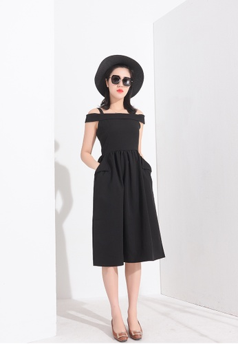 Zafiti black Off Shoulder Flounce A-line Dress 9F832AABD3E0B2GS_1