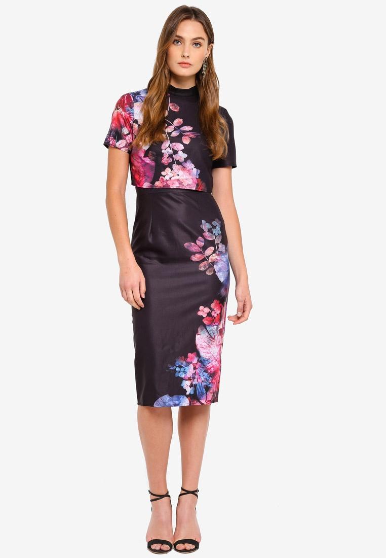 Little Floral Placement Dress Floral Bodycon Base Black Mistress tnZqCaxFCw