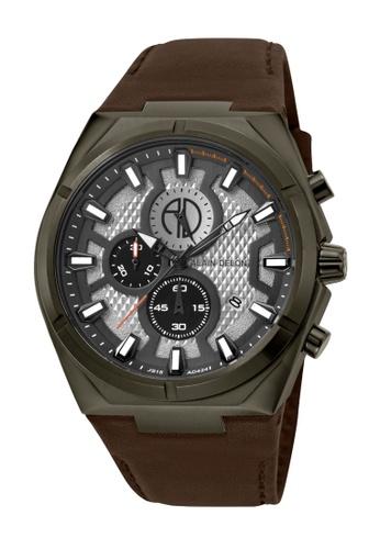 Alain Delon brown Alain Delon Men AD424-1712C Brown Leather Watch 53946ACF34C46CGS_1