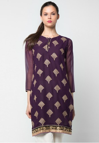 CHANIRA FESTIVE COLLECTION purple Ramzia Embroidered Short Tunic CH354AA55BIUID_1