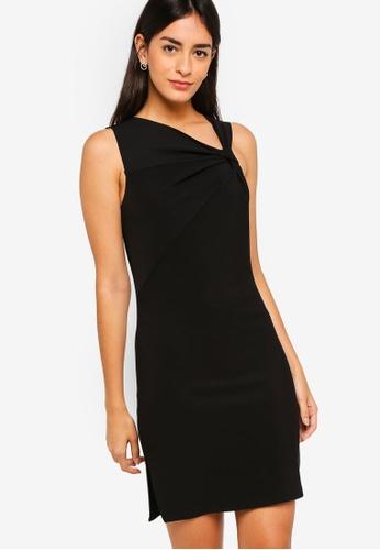 ZALORA black Asymmetrical Neck Detail Dress 2368BAAD50D6A0GS_1