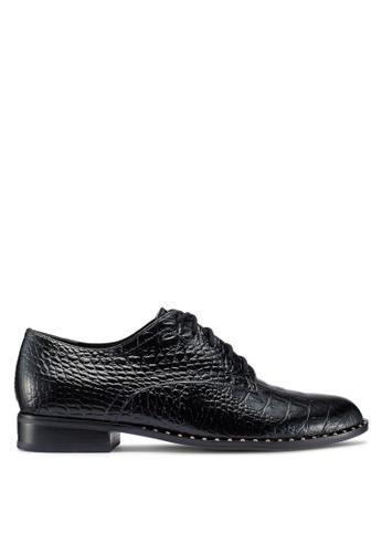 Dune London 黑色 鉚釘綁帶鱷魚紋皮鞋 3BDCESH0C98BC9GS_1