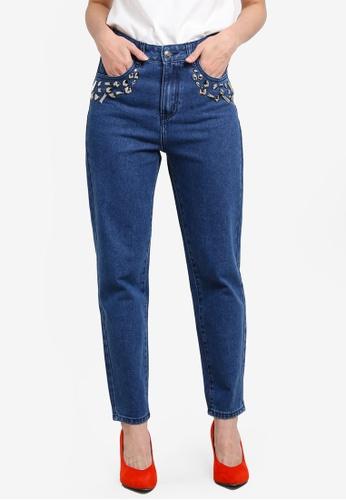 Something Borrowed blue Embellished Mom Jeans 94DE1ZZ146B2E4GS_1