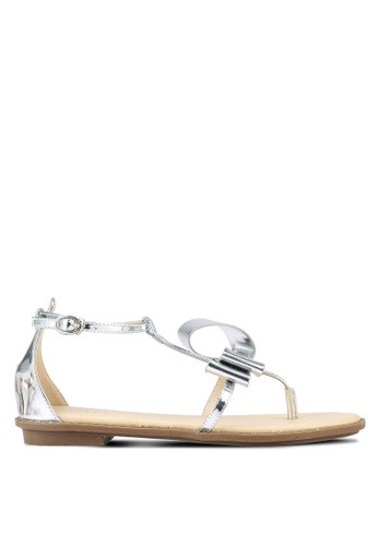 Velvet silver Abstract Bow Sandals 573BDSHB8FAA86GS_1