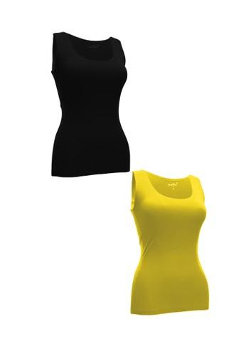Chelyne black and yellow Chelyne Singlet Atasan XXL 025 Bahan Seamless Lycra Daleman/Camisole Harian (Isi 2 pcs) 0152AAA97D54C5GS_1