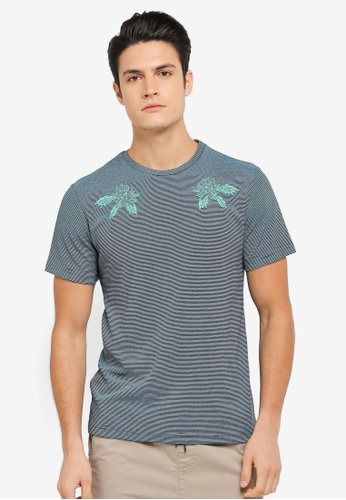 ZALORA green and multi Embroidered Textured Stripe Tee 249E2AA376B06AGS_1