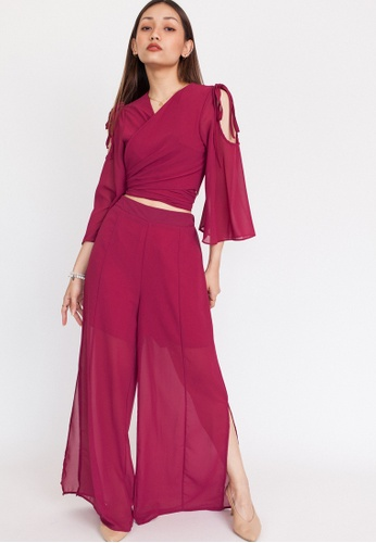 Hook Clothing pink Wrap Top and Slit Pants Co-ord DE5C7AA1C3FFA8GS_1
