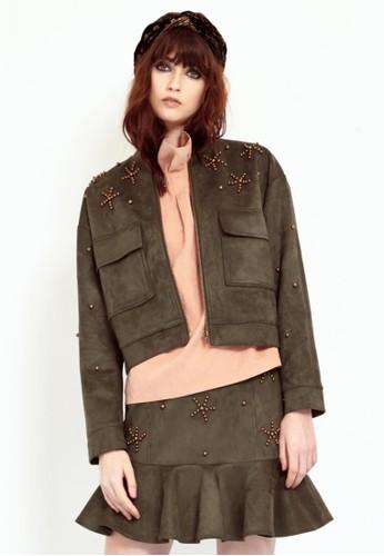 麂皮铆钉短外esprit 香港 outlet套, 服飾, 夾克 & 大衣