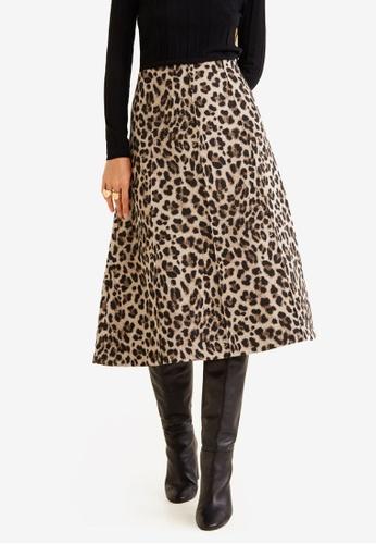 Mango brown Leopard Midi Skirt BE015AAFF567ADGS_1