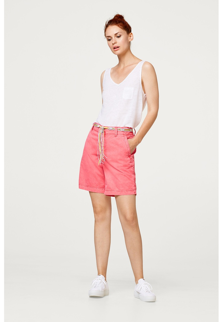 Red with shorts ESPRIT Coral Washed belt wTpwqFOS
