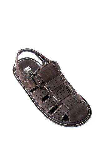 Otto brown Velcro Strap Sandals E40CDSH0D6C6FDGS_1