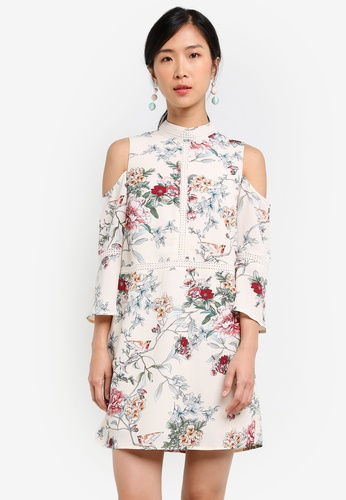 ZALORA white Cold Shoulder Dress with Trimmings 4023AAA4C98CB6GS_1
