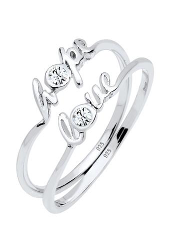 ELLI GERMANY white Ring Love Hope Statement Crystal DD139AC51BD799GS_1