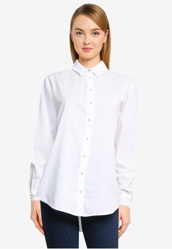 Springfield white Oversize Poplin Shirt 4BF35AA744F519GS_1