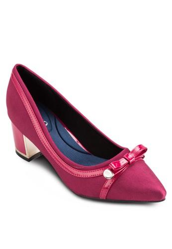 蝴蝶結飾尖頭粗跟鞋, 女esprit門市地址鞋, 鞋