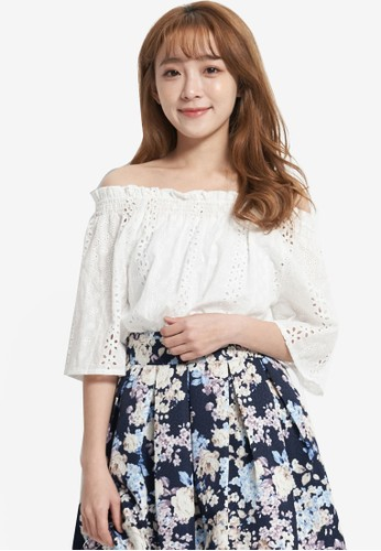 Yoco white Laser Cut Off The Shoulder Top 2F85CAA0205C95GS_1