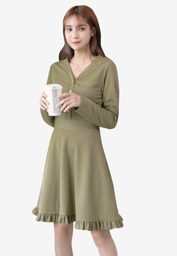 Buy Eyescream V-Neck Long Sleeve Skater Dress Online on ZALORA Singapore 00b97e514