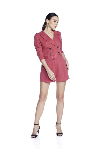Theory Of Mine pink and blue Sara Pleated Shorts With Belt C096EAA63E9387GS_1