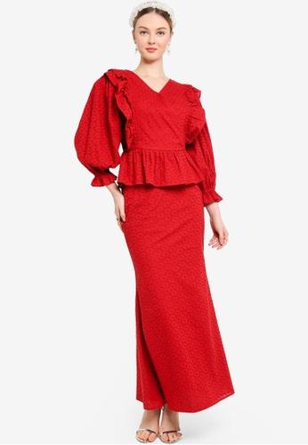 Lubna orange Frill Wrap Dress 78094AAB8BAA2EGS_1